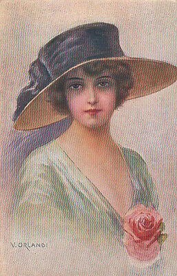 Lady With A Fancy Black Hat And Rose Corsage Original Antique Art Postcard