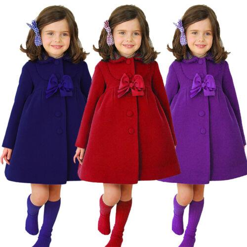Kids Girls Trench Bowknot Long Coats Winter Warm Outwear Wind Jacket Swing Dress