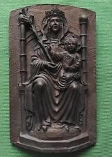 c1900 Madonna & Child Detailed Ceramic Bronze Coloured Icon Plaque