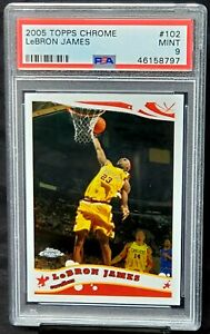 2005-Topps-Chrome-Lakers-LEBRON-JAMES-Basketball-Card-PSA-9-MINT-Low-Pop-214