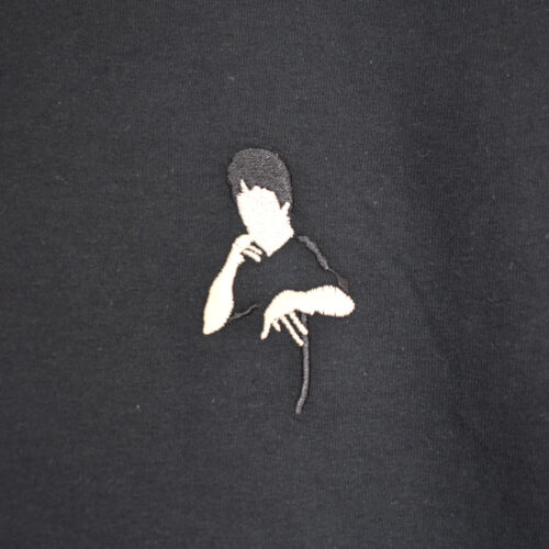 Bruce Lee Embroidered Martial Arts Wushu Kungfu Black Tee T-shirt by AF