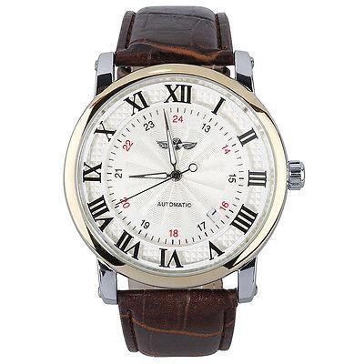 winner Unisex Mens Women Automatic Self-winding Movt Wrist Watch Leather Band BT