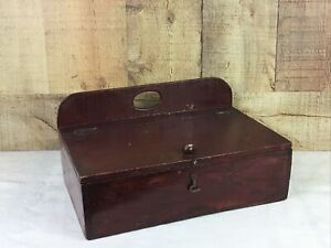 Vintage Hinged Wooden Sewing Box With Hook Closure And Contents