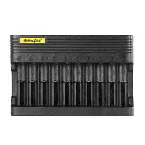 10 Slot Battery Charger Smart 3.7V Li-Ion Charging For 26650 18650 16340 14500