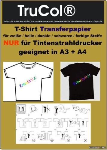 Textilfolie Transferfolie Bügelfolie helle+dunkle farbige Stoffe A3 A4 klar//weiß