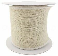 "4"" White Burlap Ribbon - 10 Yards - Wired / Finished Edges - Super-Fine Weave"