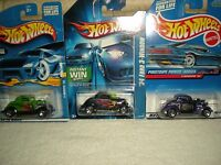 Classic Hot Wheels 3-window '34 Car Lot (3) All Different (diecast) 1:64
