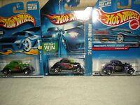 Classic Hot Wheels 3-window '34 Car Lot (3) All Different (diecast) 1:64