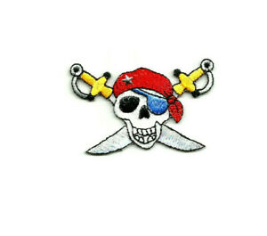 Pirates Embroidered Iron On Patch Skull Cross Bones Pirate Ship