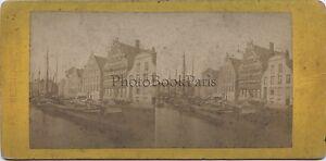 Ghent Gent Belgium Foto Stereo Vintage Albumina Ca 1870