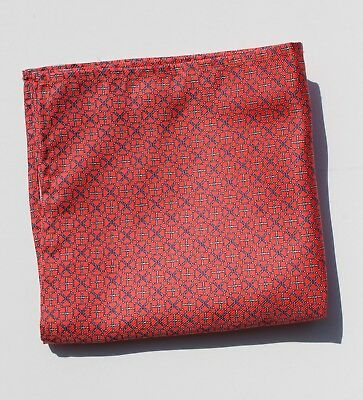 Bow Tie Club Pink and Blue-Grey Geometric Printed Heavy Silk Pocket Square - USA
