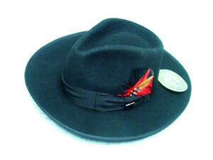 6871f5a9e Black zoot gangster mobster 3 inch wide Brim Fedora hat sizs XL ...