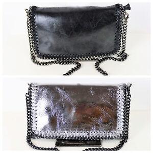 ad35724096d84 Das Bild wird geladen Abendtasche-Ausgehtasche-Leder-Schultertasche- Handtasche-Kette-silber-schwarz