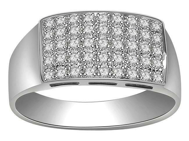 Mens Ring Engagement VS1 E Natural Diamond 0.50Ct 14K White gold Pave Set 8.15m