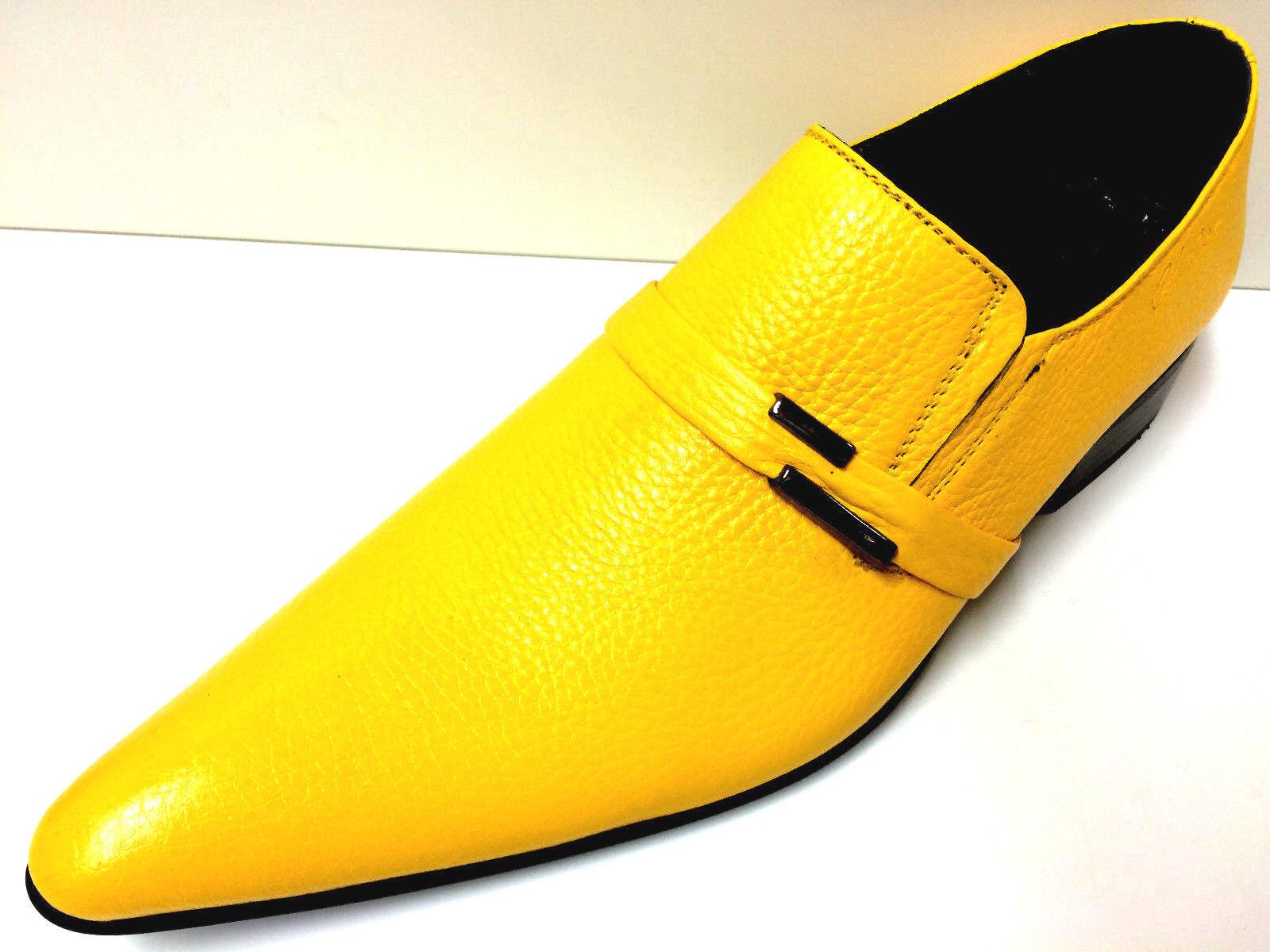 CHELSY yellowE AUSGEFALLENE LEDER HERRENSCHUHE yellow DESIGNER SLIPPER HANDARBEIT 41