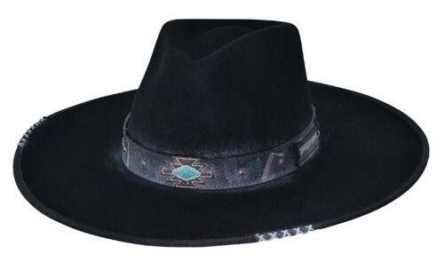"Bullhide /""Messed Up/"" Distressed Black Wool Hat 0769BL"
