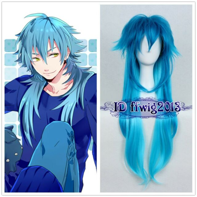Dramatical Murder DMMD AOBA Long Blue mix cosplay Party wig +a wig cap