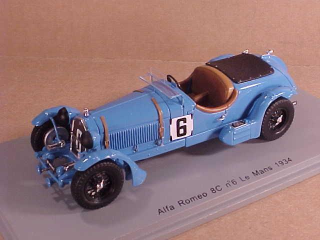 Spark  S3887 1 43 Résine Alfa Romeo 8c, 1934 Mans,  6, E Howe & T Rose Richards