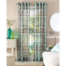 Item 8 Set Of 2 Modern Leaf Brown Teal Blue Grommet Sheer Window Curtains Panels
