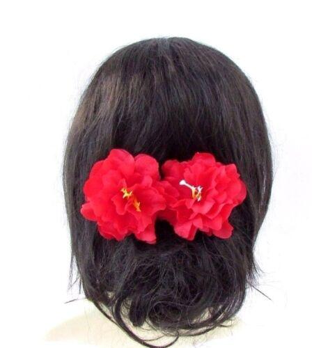 2x Grand Rouge Pivoine Fleur Cheveux Pins demoiselle d/'honneur Floral Rockabilly Vintage 1950 S 3542