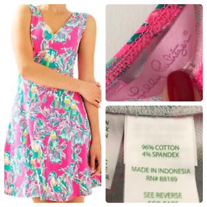 LILLY PULITZER Dahlia Dragon Fruit Rosa Toucan Can Dress Größe XS New