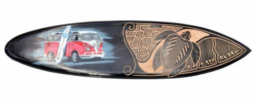 Tribal Deko Surfboard 100cm mit VW Bus Paintbrush Motiv T1 Surfbrett z Aufhängen