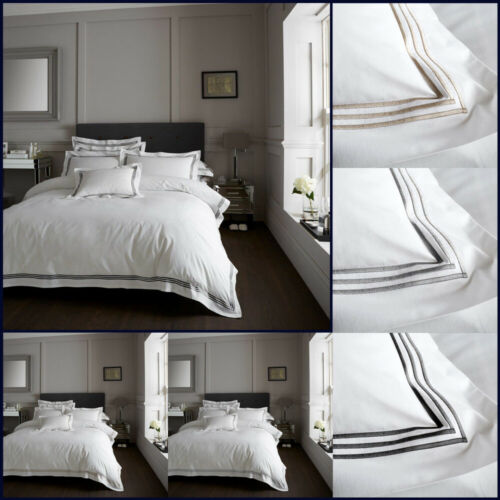 Embroidery Quilt Cover Set Bedding Single Double Super King White Beretta Stitch