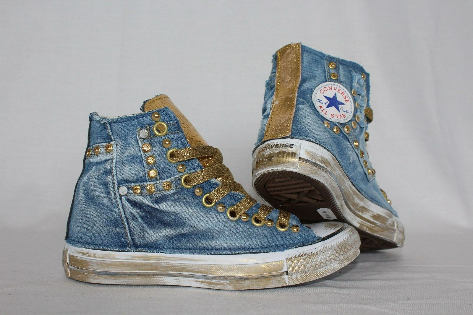 Converse all Star with Jeans and Sem Pel & gold Studded More Sporcatura