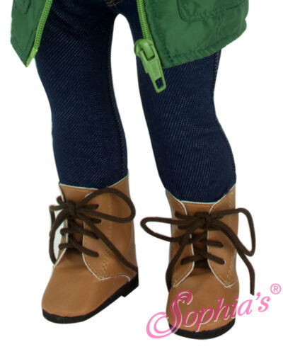 Tan Tie Boot Shoes made for 18 inch American Girl Doll Clothes