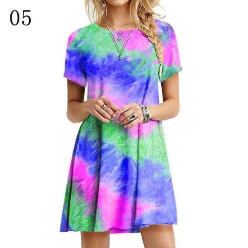Women Casual Tie-Dye Mini T-shirt Dress Loose Short Sleeve Tops Pullover Summer