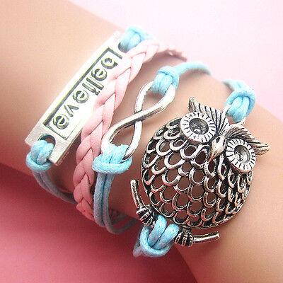 NEW Style Jewelry fashion Leather Cute Infinity Charm Bracelet Silver SL49