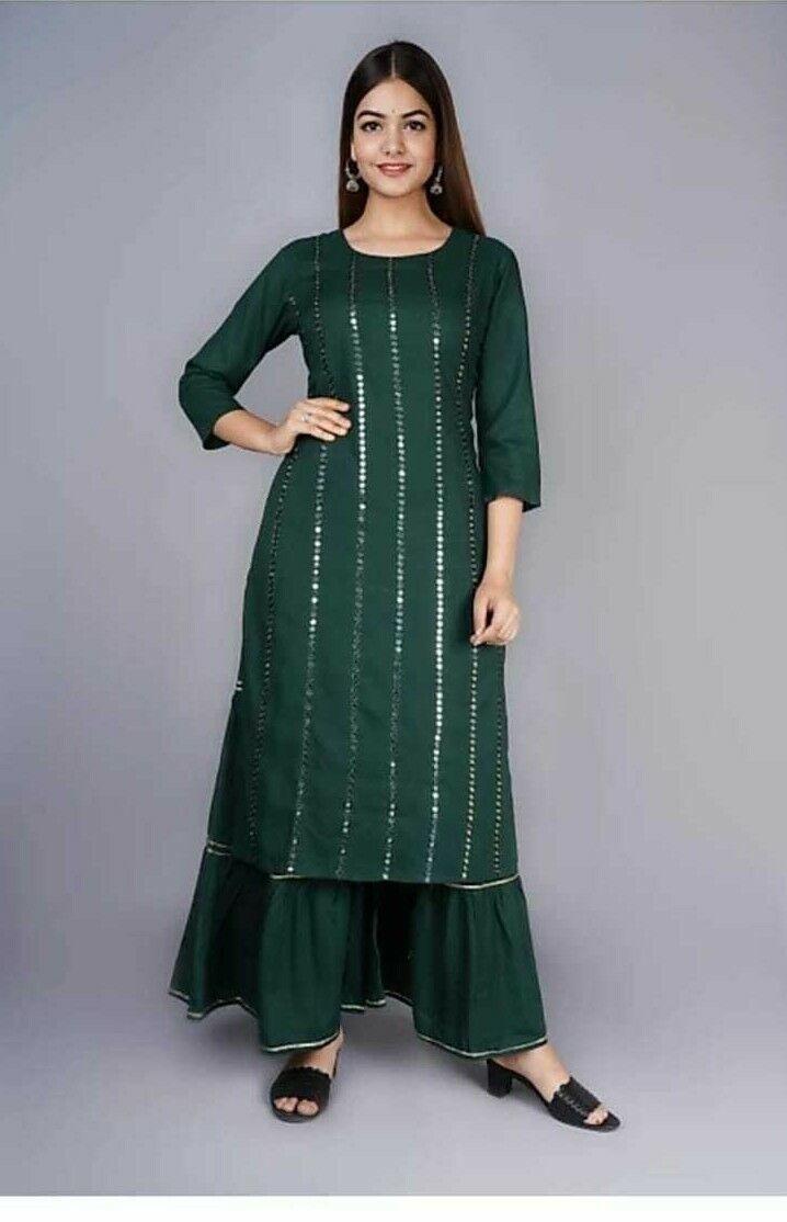 Indian Kurta with Palazzo Sharara Kurtis Bottom Dress Set Women Ethnic Top Tunic