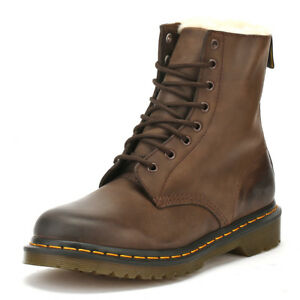 Clever Dr. Martens Dark Brown Ankle Boots Lace Up Burnished Winter Leather Shoes Casual