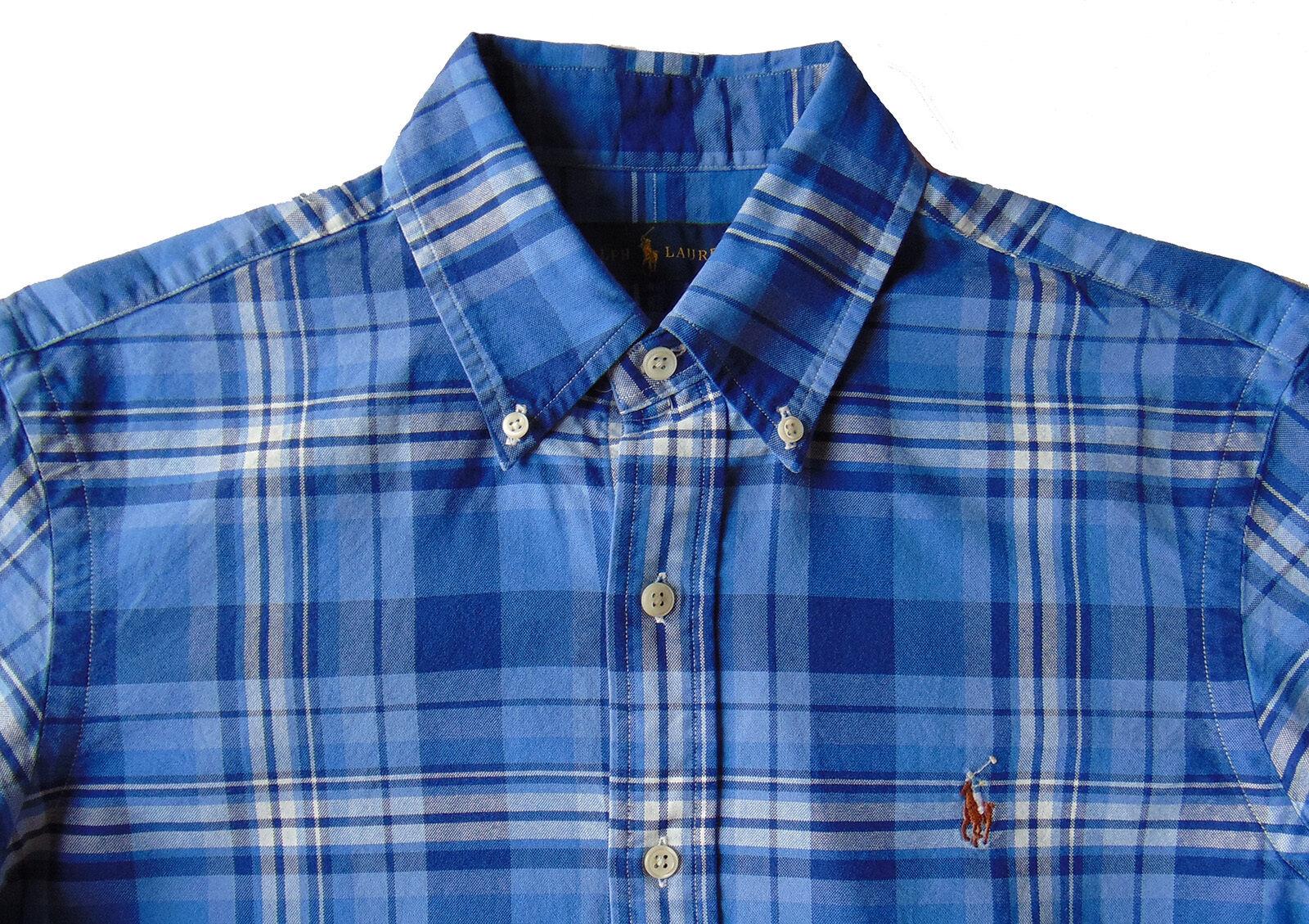 Men's RALPH LAUREN bluee White Plaid Oxford Shirt 2XLT (2XT   2LT) NWT NEW Nice