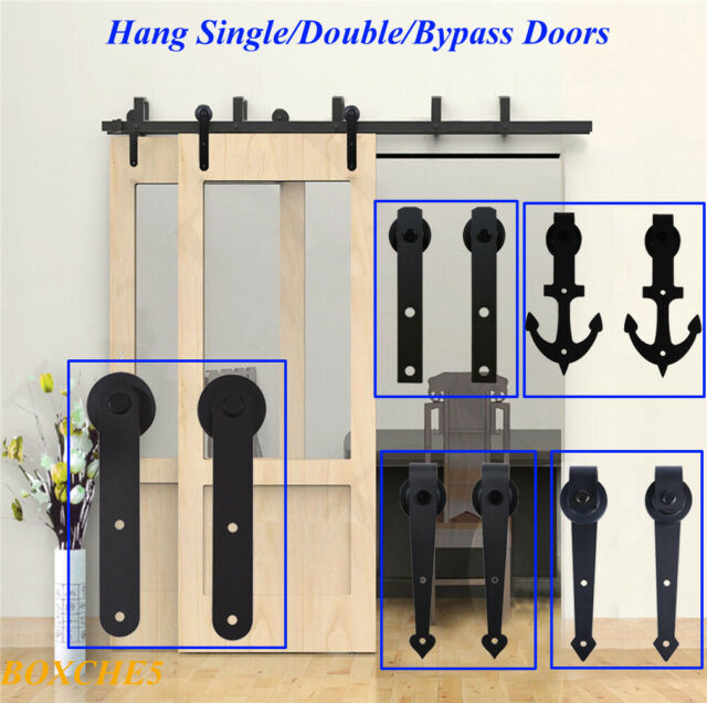 8ft SS304 Euro Style Glass Sliding Door Hardware Kits for Single Doors Length: 8ft Single kit, Color: Beige