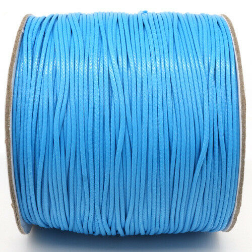 5m ou 10m Fil en Nylon Ciré 1,5mm Bleu Clair Cordon cire bijoux attache tetine