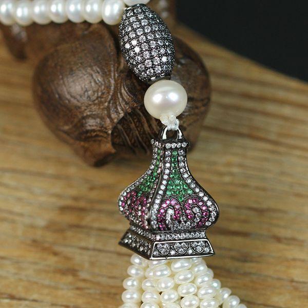 Collier Sautoir Perle de de de Culture d`Eau Douce argento 925 Class Grenat Tour A11 7badf1