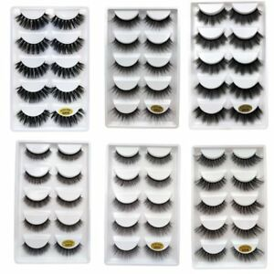 5-Pair-3D-Natural-Long-Thick-Handmade-Wispies-Beauty-Soft-False-Eyelashes-Makeup