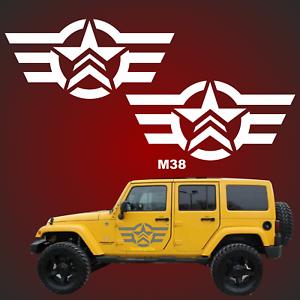 2 57cm US Army Sterne RETRO Sterne Auto Aufkleber Jeep USAF jeep USA Army 4x4