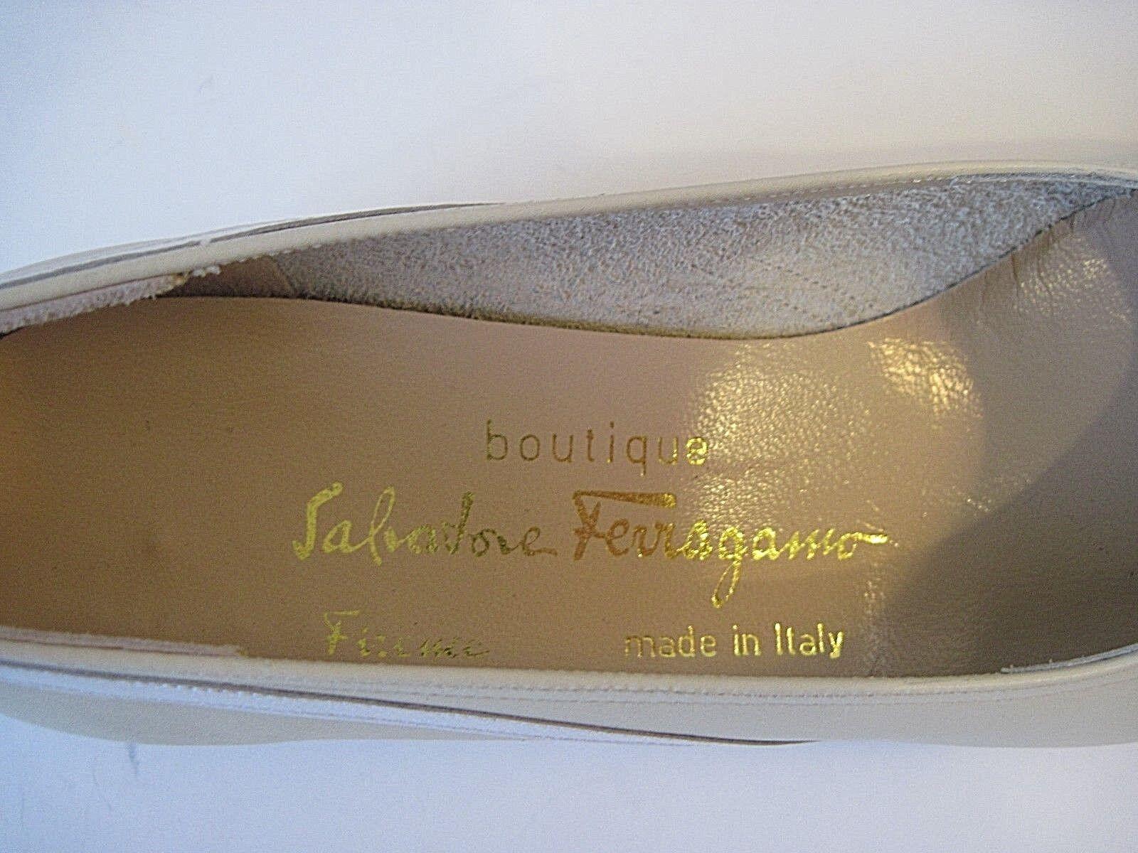 Salvatore Ferragamo Cream Weiß Leder Loafers Größe 6.5 2A, 2A, 2A, Excellent 85e77b