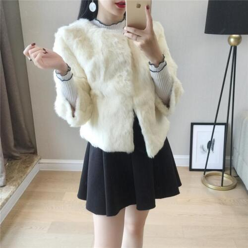 3 mujer completo Outwear Pelt conejo 4 Lujo de de Abrigo para Corto Manga estilo real piel aqRT8Yw6
