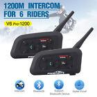 2x 1200M BT Bluetooth Casco De Moto Dirección Mic Intercomunicador Interphone V6