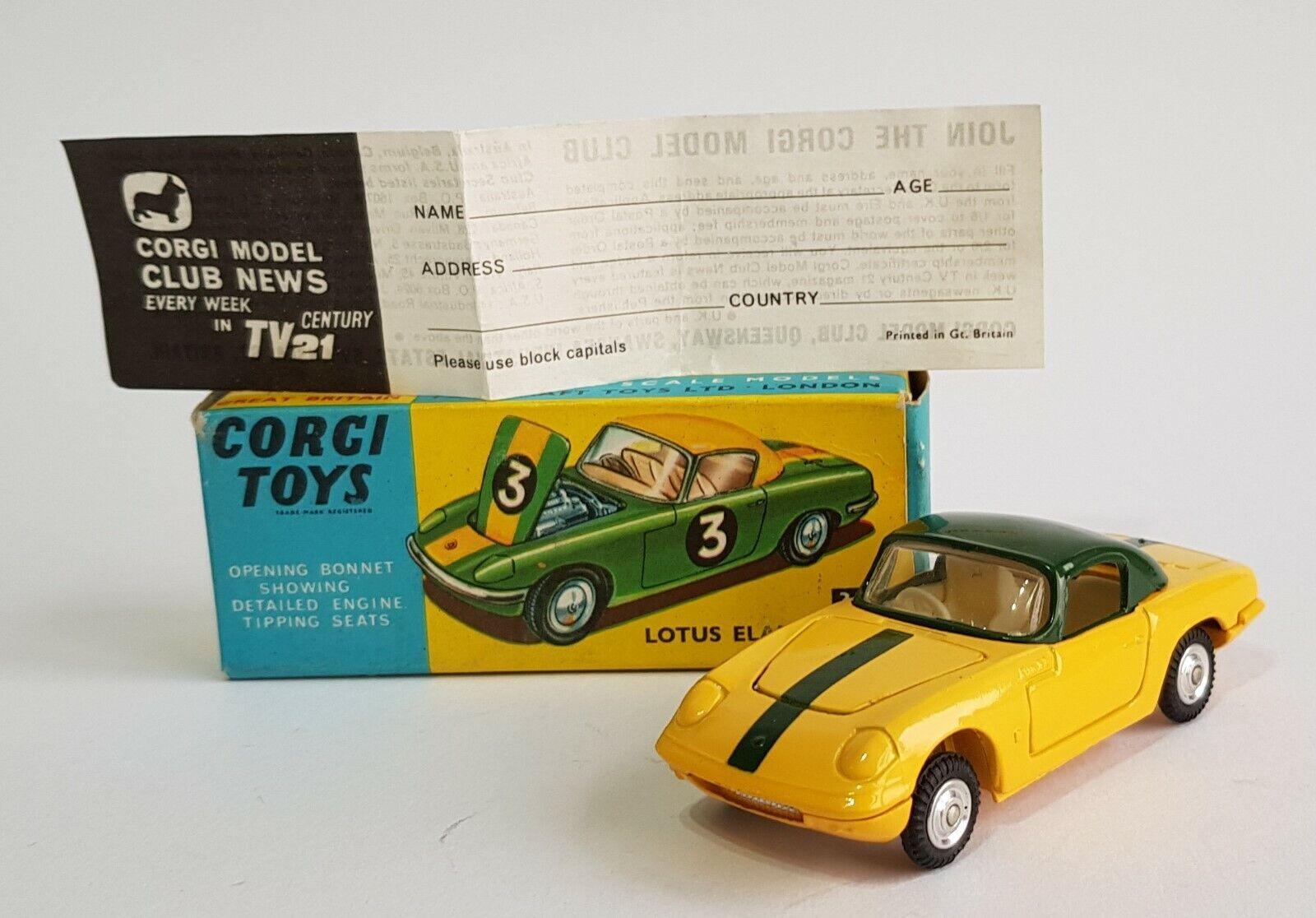 Sällsynta Corgi-leksaker nr 319, Lotus Elan Coupe, Safed Wklackar Variation, Superb Mint