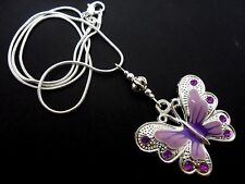 A TIBETAN SILVER PURPLE/LILAC  BUTTERFLY  THEMED NECKLACE. NEW.
