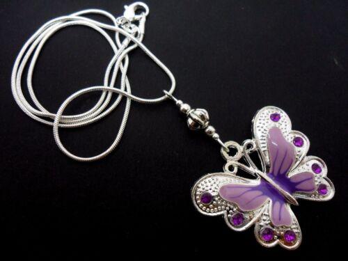 A Tibétain argent violet//Lilas Papillon thème Collier NOUVEAU