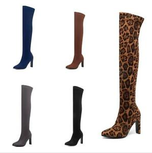 Women Overknee Long Boots Suede Fabric Block Heel Pointy Toe Casual Shoes 34-43