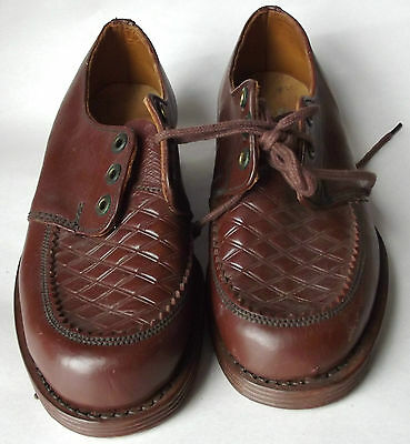 Vintage childrens shoes UNUSED c 1930s Leather soles LITE-SHU lace-ups size 12