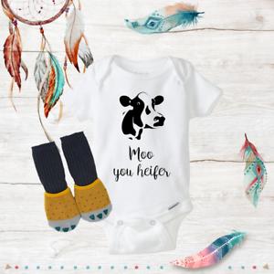 Moo Heifer Cow Onesies /& Socks Baby Shower Gift Set Newborn Funny Unisex Infant