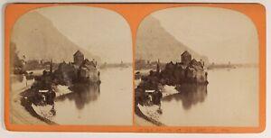 Château Da Chillon Suisse Foto Stereo PL55L3n Vintage Albumina c1868