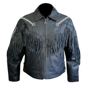 MENS-BLACK-TASSELS-STYLE-MOTORBIKE-COWHIDE-LEATHER-ARMOURED-JACKET-SIZE-LARGE